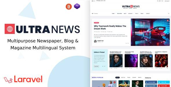[Free Download] UltraNews – Laravel Newspaper, Blog and Magazine Multilingual System (Nulled) [Latest Version]