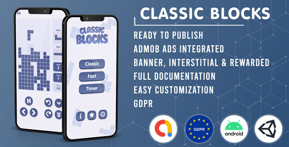 [Free Download] Classic Blocks   Tetris Clone (Admob + GDPR + Unity Game Template) (Nulled) [Latest Version]