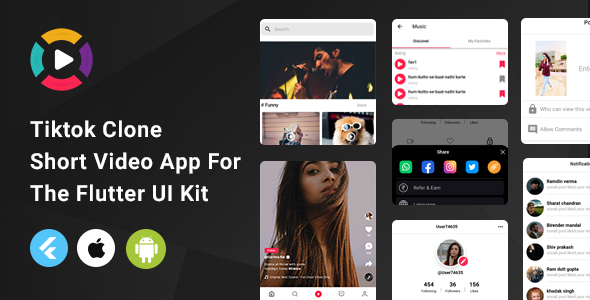 [Free Download] Tiktok Clone | Short Video App For The Flutter UI Kit | Android | iOS (Nulled) [Latest Version]
