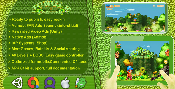 [Free Download] Jungle Adventures 5 2D – Complete Game Template / Project – Unity Game (Nulled) [Latest Version]
