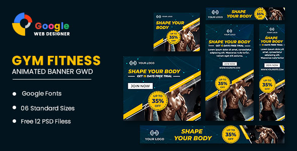 [Free Download] Fitness Google Adwords HTML5 Banner Ads GWD (Nulled) [Latest Version]