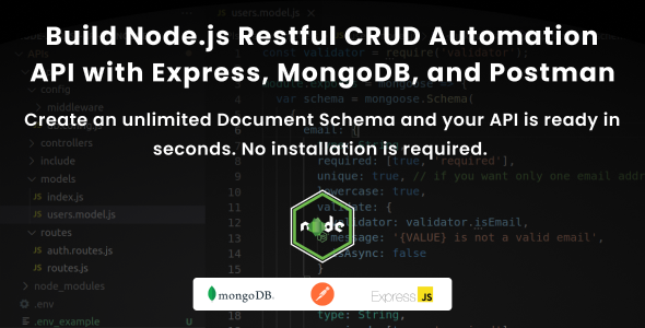 [Free Download] Build Node.js Restful CRUD Automation API with Express, MongoDB and Postman (Nulled) [Latest Version]