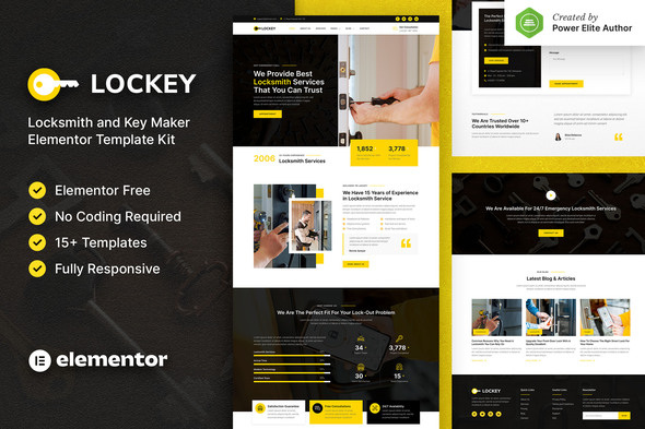 [Free Download] Lockey – Locksmith and Key Maker Service Elementor Template Kit (Nulled) [Latest Version]