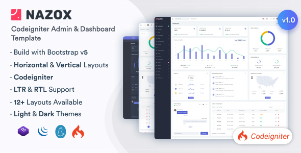 [Free Download] Nazox – CodeIgniter Admin & Dashboard Template (Nulled) [Latest Version]