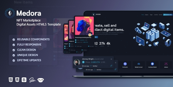 [Free Download] Medora | NFT Marketplace Bootstrap Template (Nulled) [Latest Version]