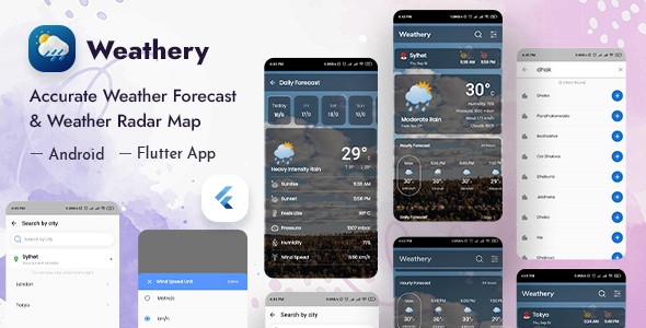 [Free Download] Weathery – Weather Forecast & Radar Map Flutter App (Nulled) [Latest Version]