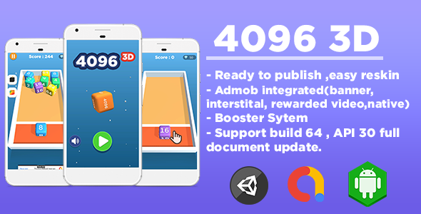 [Free Download] 4096 3D (Unity Game Template + Admob Ads) (Nulled) [Latest Version]