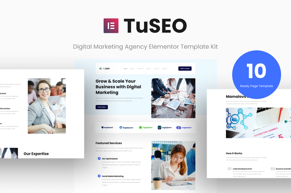 [Free Download] TuSEO – Digital Marketing Agency Elementor Template Kit (Nulled) [Latest Version]