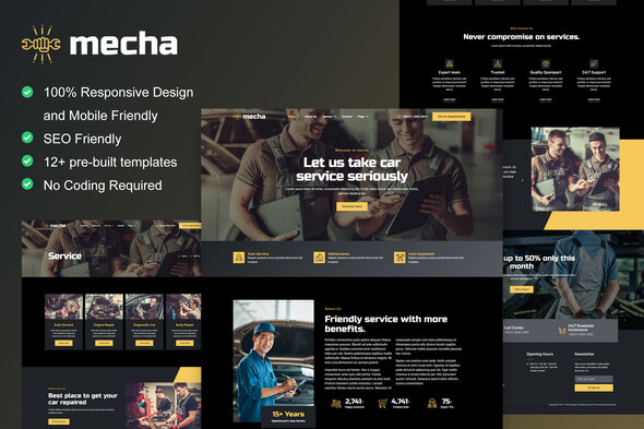 [Free Download] Mecha – Car Repair & Auto Service Elementor Template Kit (Nulled) [Latest Version]
