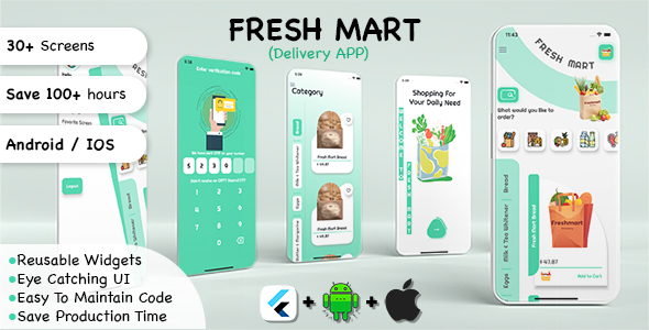 [Free Download] Fresh Mart Delivery App for E-commerce, Grocery Shopping App UI Kit in Flutter (Nulled) [Latest Version]