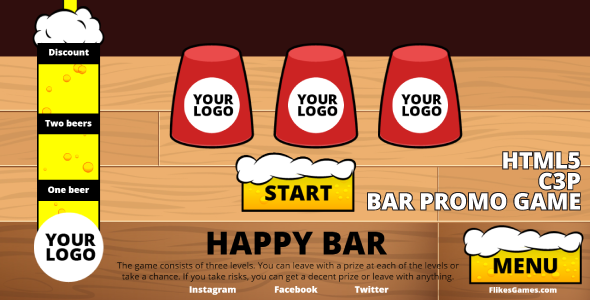 [Free Download] Happy Bar – HTML5 promo game, Construct 3 (.c3p) (Nulled) [Latest Version]